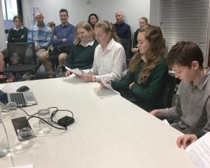 St Gerard's School pupils (from left) Lydia Sanders (13), Imojen Constable (13), Olivia Dyson (12...