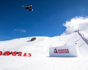 Wanaka snowboader Zoi Sadowski-Synnott flies through the air at Cardrona yesterday.PHOTO: NEIL...