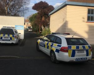Police outside the Dunedin School of Art. Photo: George Block