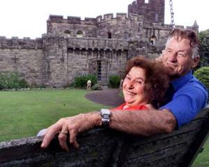 Ron Reid, pictured with his late-wife Esme in 2000, at their castle in Auckland's Birkdale. Photo...