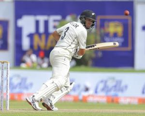 Ross Taylor watches a shot during his innings yesterday as the Black Caps began the first test...