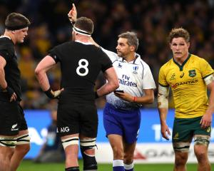 Jerome Garces sends off Scott Barrett in the first half of the Bledisloe Cup clash. Photo: Getty...
