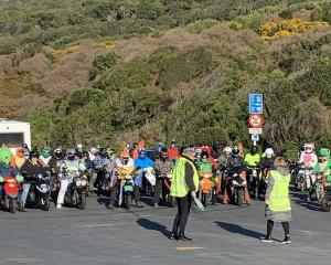 Participants at the starting line at Stirling Point in Bluff this morning. Photo: Abbey Palmer