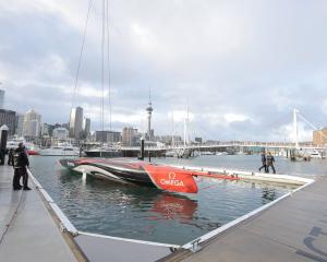 Team New Zealand christened their new yacht Te Aihe in Auckland this morning. Photo: NZ Herald