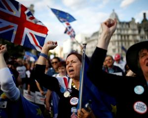 Anti-Brexit protesters outside the Houses of Parliament in London earlier this month. Photo: Reuters