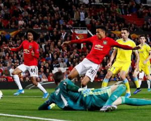 Manchester United's Mason Greenwood in action at the goalmouth. Photo: Reuters