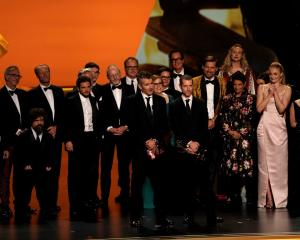 "The cast of ""Game of Thrones"" accept the award for Outstanding Drama Series. Photo: Reuters"