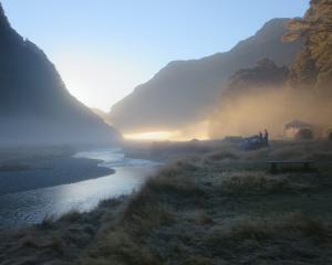 Misty morning at the Routeburn Flats camp. Photo: Alina Suchanski