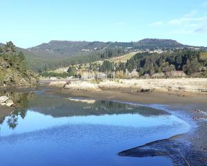 the bridge over the estuary offers a peaceful view back up the Orokonui valley to Mihiwaka....