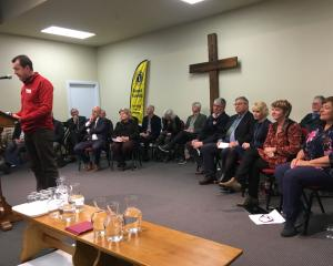 "Cromwell businessman Greg Wilkinson welcomes local government candidates to last night's ""meet..."