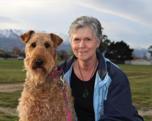 Cromwell Dog Park committee secretary Raewyn Chatfield with Grace.PHOTO: SUPPLIED