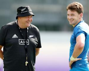 Beauden Barrett will start at fullback in the All Black side named by Steve Hansen (left) today....