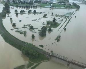 An aerial view of the Clutha River in flood. Photo: Otago Regional Council