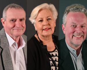 2019 Mayoral candidates Bob Barlin, Christine Garey and Lee Vandervis. Photos: Craig Baxter
