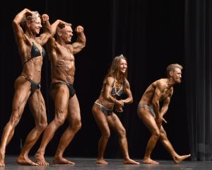 Bodybuilders (from left) Delaine and Mike Tabb, and Nora and Patrick Bishop compete in the...