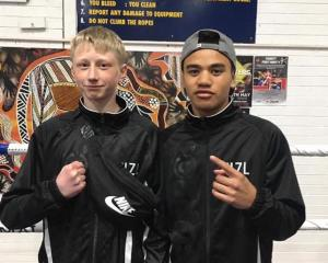 Wooston boxers Ryley Sutherland, left and Hamuera Tainui before they represented New Zealand in...