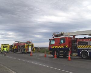 Emergency services at the scene of a crash involving a car and truck on the Bluff Highway. Photo:...
