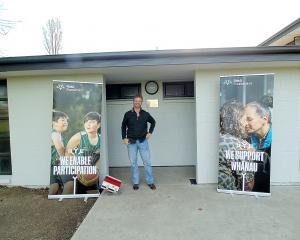 Riccarton Knights rugby league acting chairman Peter Carey outside the new David Attewell...