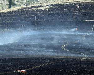 Battling a scrub fire in the Maniototo yesterday as it ravaged tussock and scrubland are a...