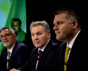 Fonterra CFO Marc Rivers, Chairman John Monaghan and CEO Miles Hurrell. Photo: NZ Herald