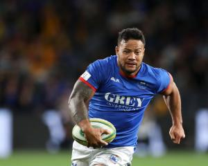 Samoan outside back Tim Nanai-Williams looks for some space against Australia in Sydney last...