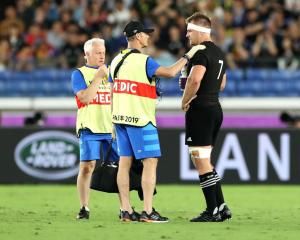 Sam Cane receives a medical treatment before being sent for an HIA. Photo: Getty Images