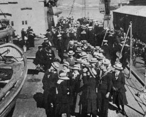 College girls being shown over HMS New Zealand in Wellington Harbour. - Otago Witness, 5.9.1919