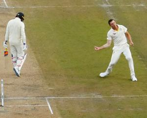 Australia's Josh Hazlewood celebrates taking the wicket of England's Jason Roy. Photo:  Action...