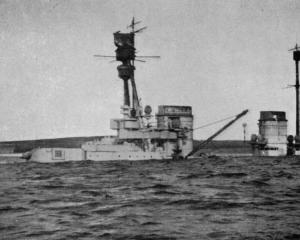 The great German battleship Hindenburg settled down in shallow water after being scuttled by her...
