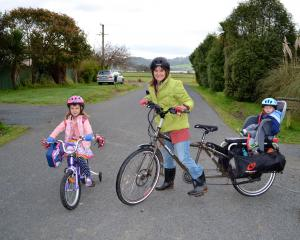 Electric cargo-bike rider Jenn Shulzitski, of Waitati, Otago. Photo: Supplied