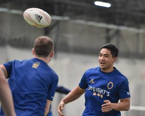 Otago and All Black first five-eighth Josh Ioane looks to get involved in a game at training at...
