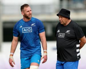 Kieran Read (left) and Steve Hansen at All Blacks training this week. Photo: Getty Images
