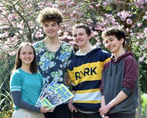 Logan Park High School pupils Linea Simons (17), Abe Baillie (17), Finn McKinlay (18) and Zak...