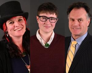 Dunedin Mayoral candidates Mandy Mayhem-Bullock, Scout Barbour-Evans & Jules Radich. Photo: Craig Baxter