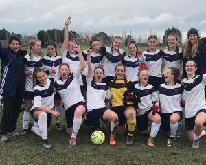 Marian College celebrate winning the Gary Sowden football tournament. Photo: Supplied