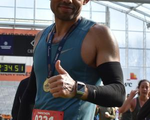 Marwane El kamraoui after the Dunedin Marathon yesterday. PHOTO: WAYNE PARSONS