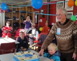 Oldest and youngest members of Mt Cheeseman Ski Club Bruce Alexander, 87, and Theodore Hinman, 5,...