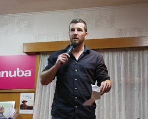 Sam Robinson shared his own story with the crowd at the Kurow Hotel. PHOTO: GUS PATTERSON