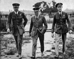 Lieutenant Durrant (wireless operator), Major Scott (commander) and Major Cooke (navigator) of...