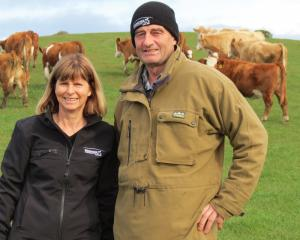 Steph and Warren Burgess, of Beresford Simmental Stud, Puketiro, run both Simmentals and Murray...
