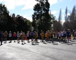 IMG 4349: Start of the 2019 Southland Road Running Championsghips at the Boat Harbour, Te Anau. ...