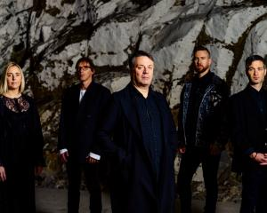 The Chills (from left) Erica Scally, Todd Knudson, Martin Phillips, Oli Wilson and James Dickson....