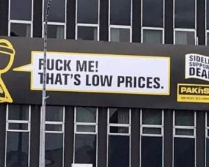 The billboard appears to show an offensive phrase. Photo: Supplied via NZ Herald