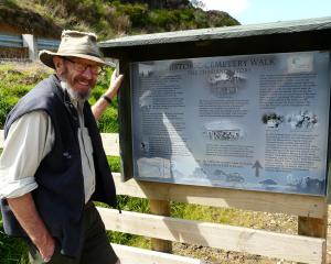 Project spokesman Fergus Sutherland inspects one of two new interpretation panels at the...