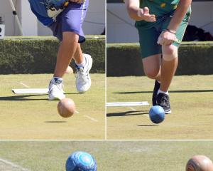 Ryan Bester (left) and Aaron Wilson in action at the North East Valley Bowling Club last year....