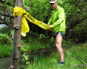 Water crossings are a feature of the Wanaka Dash course laid out by creator Martin McKone. Photo:...