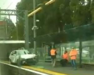 A car was driven on to the platform at Middlemore station. Photo: Twitter/Ben Ross