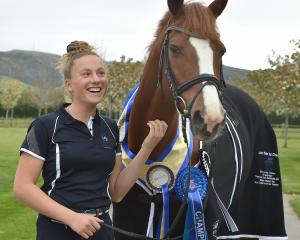 Ella Morshuis and her horse World Famous at home in Mosgiel this week.