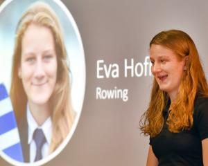 Rower Eva Hofman addresses the crowd at an event celebrating the achievements of Otago...