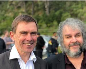 Wellington City Councillor Andy Foster with Sir Peter Jackson at his announcement about his run...